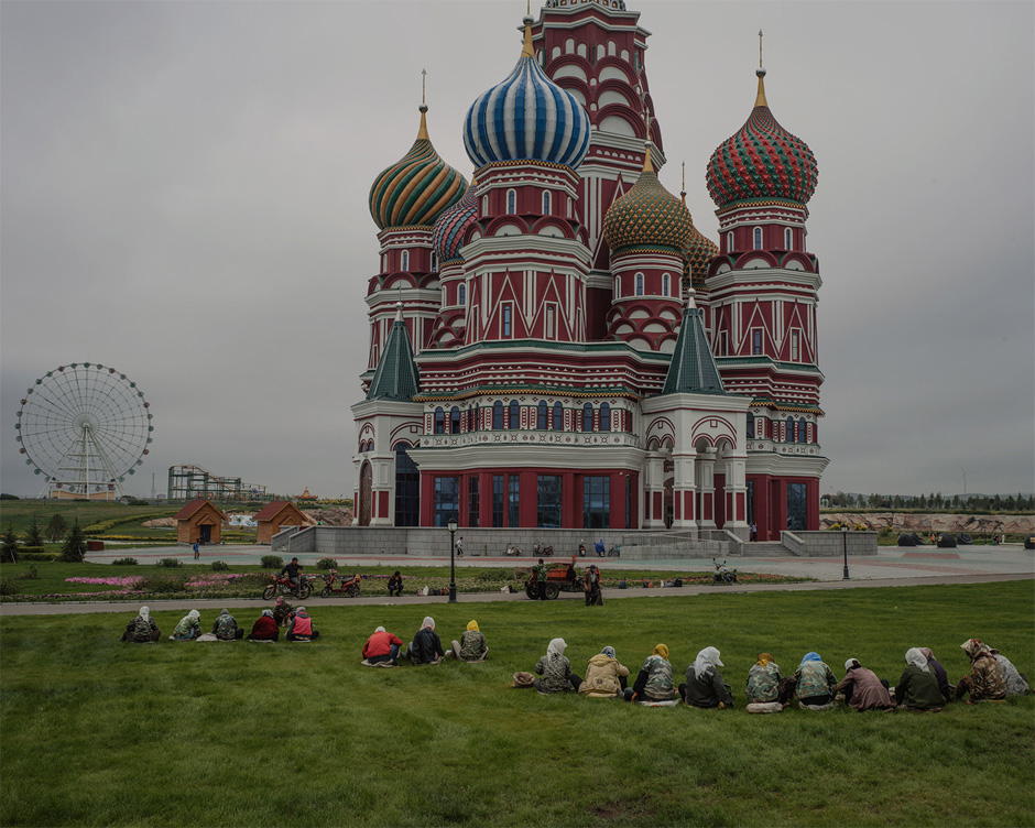 A replica of Moscow's St. Basil's Cathedral used as a science museum stands in the Jalainur district of Manzhouli, China.