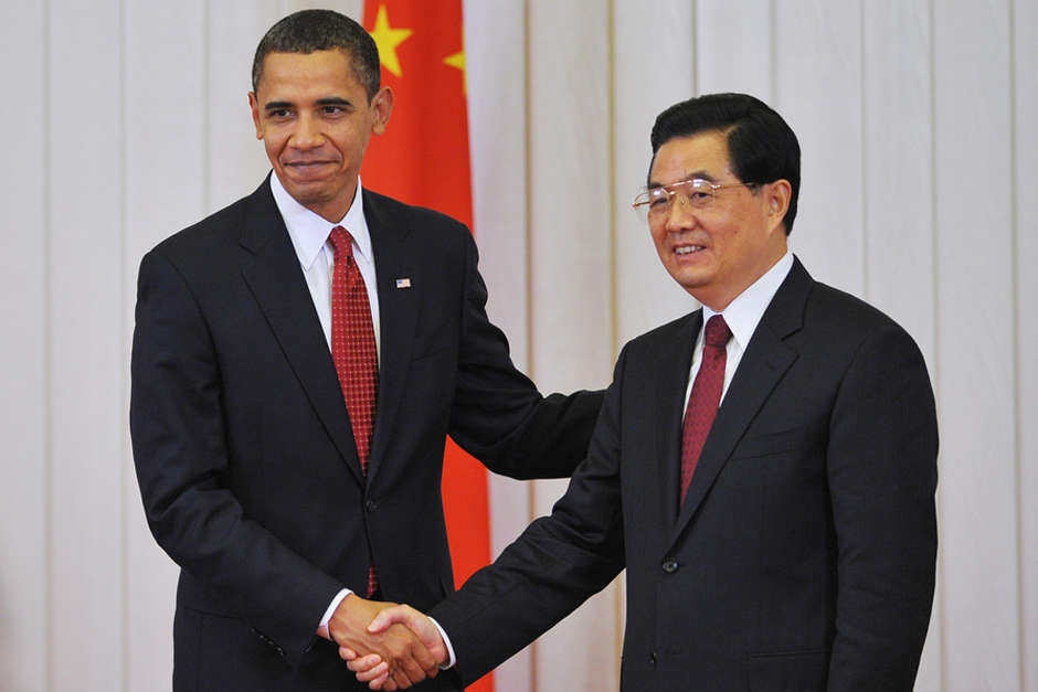 U.S. President Barack Obama shakes hands with Chinese President Hu Jintao following a statement to the press at the Great Hall of the People in Beijing on November 17, 2009. (Photo by Mandel Ngan/AFP/Getty Images)