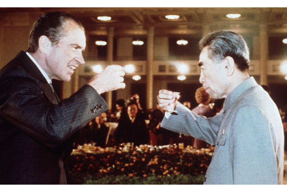 U.S. President Richard Nixon toasts Chinese Premier Zhou Enlai during his trip to China in February 1972. (AFP/Getty Images photo)