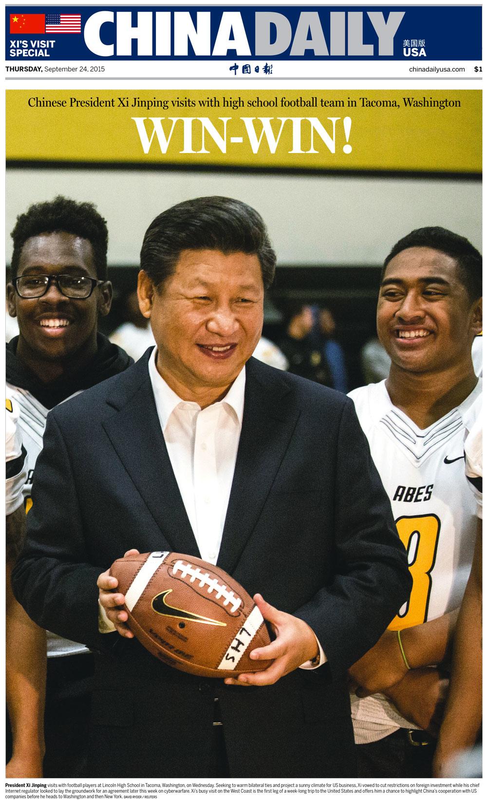 'China Daily,' U.S. edition, September 24, 2015.