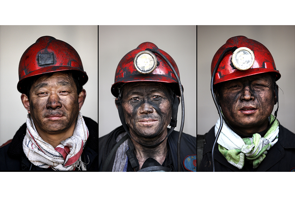 From left, Zhang Yixian, 51, Ren Gongming, 50, Wen Bianyu, 46. Together, they have a cumulative 71 years of experience working in the mines.