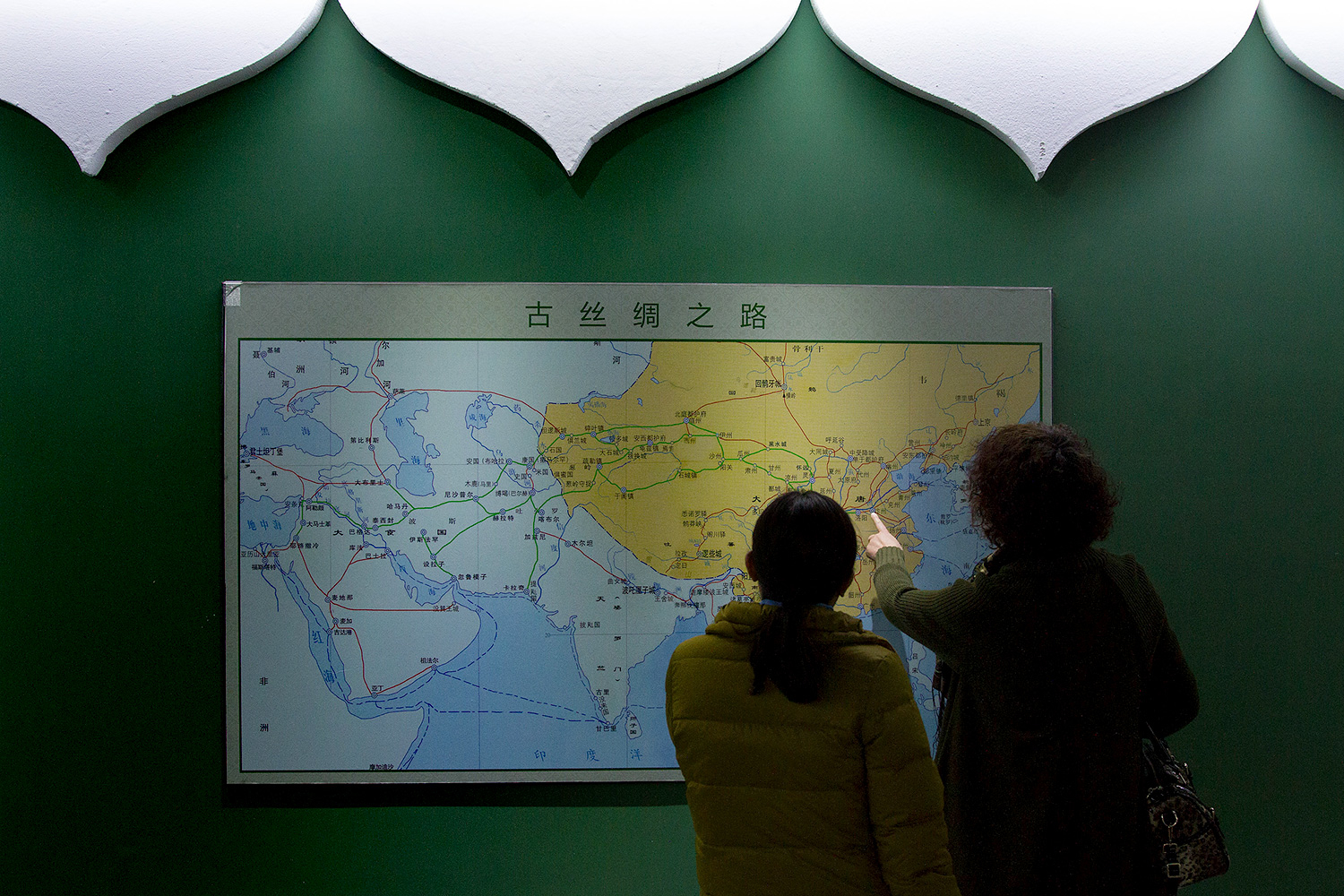 "A map of the ancient Silk Road is part of the ""Historic Origin of China's Hui Ethnicity"" exhibition inside the Aisha Palace."