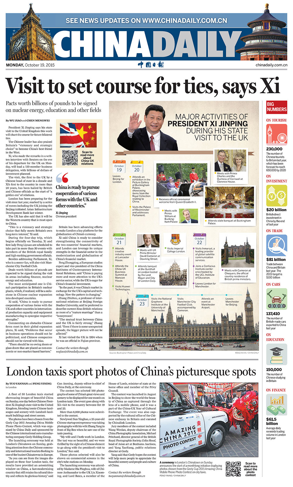 'China Daily,' European edition, October 19, 2015.