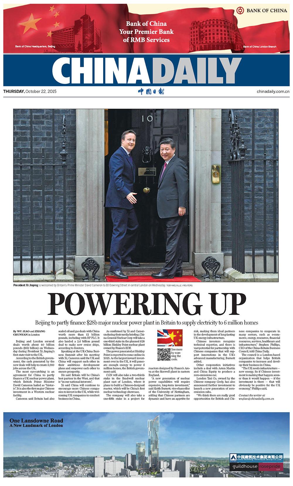 'China Daily,' European edition, October 22, 2015.
