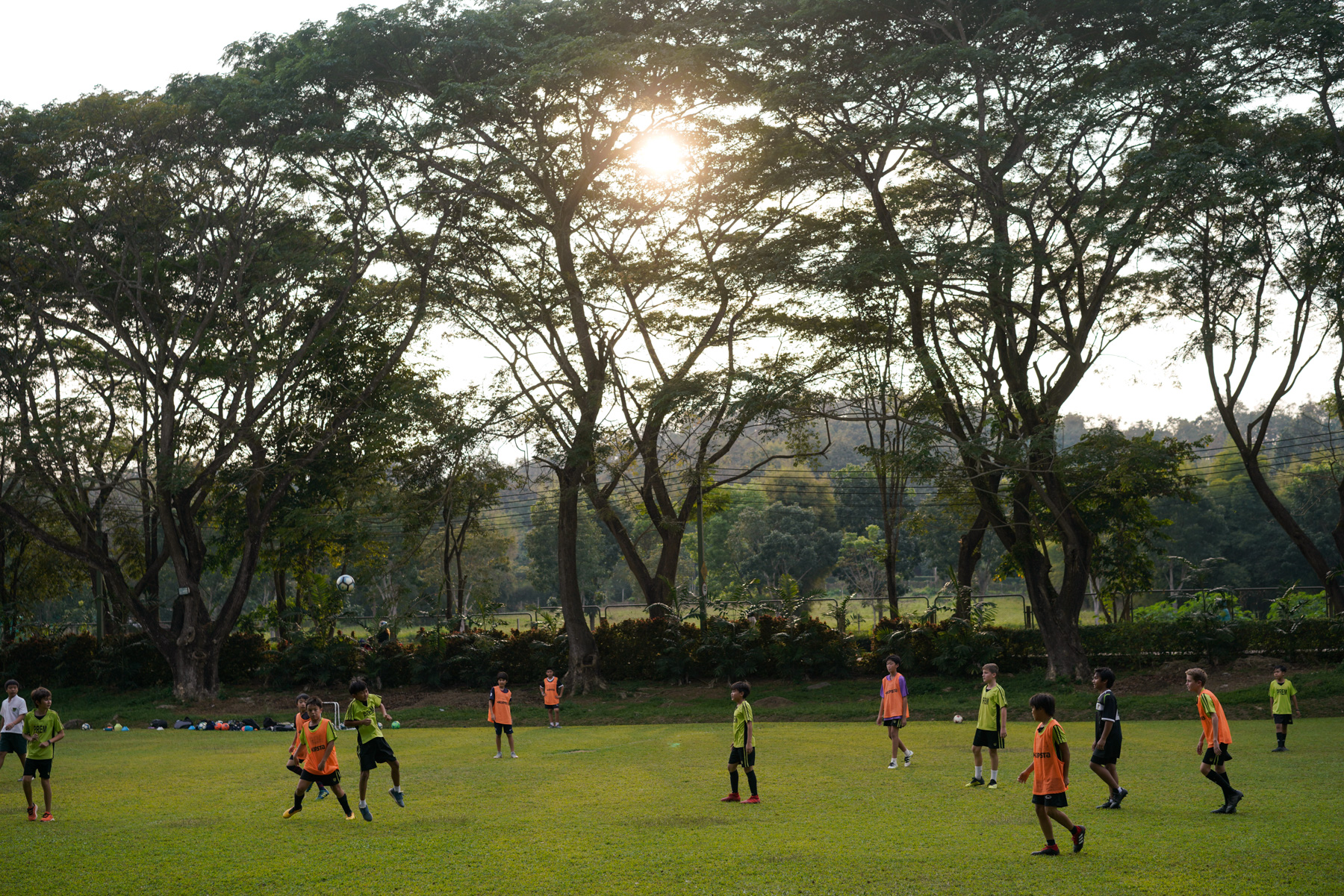Students play soccer at Prem Tinsulanonda International School in Chiang Mai, January 17, 2019. The school's students hail from 31 countries.