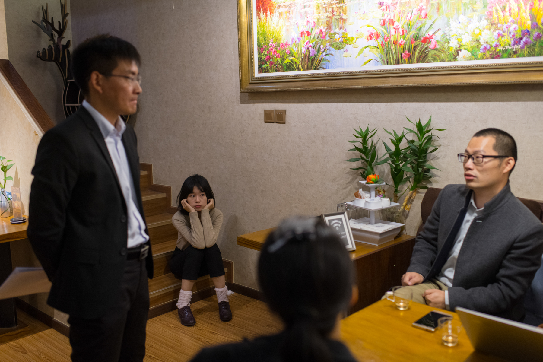 "Zhou, Xu (not pictured), and their lawyers meet at a cafe before a pretrial evidence exchange for the claim Zhu filed against them, October 25. The team expects both cases (the one Zhu filed against Zhou and Xu, and the one Zhou filed against Zhu) will take a long time to resolve. Zhou says, ""If we win, more women would feel encouraged to stand up and defend themselves."""
